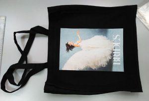 Il sacchetto campione nero del cliente britannico è stato stampato da una stampante tessile dtg